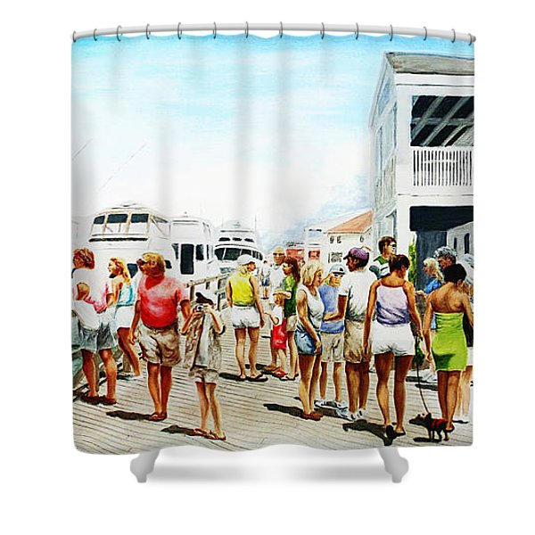 Shower Curtain featuring the painting Beach/shore II Boardwalk Beaufort Dock - Original Fine Art Painting by G Linsenmayer