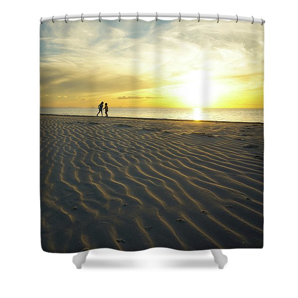 Beach Silhouettes And Sand Ripples At Sunset Shower Curtain