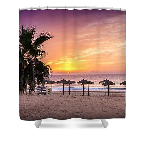 Beach Sunrise. Shower Curtain