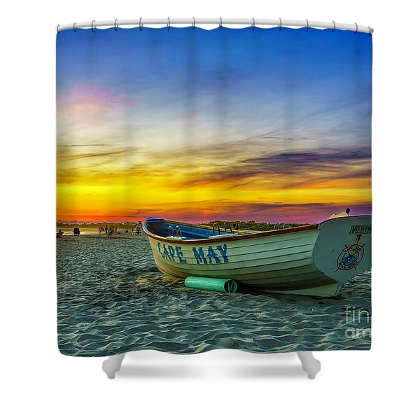 Beach Sunset In Cape May Shower Curtain