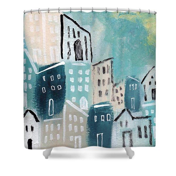 Beach Town- Art By Linda Woods Shower Curtain