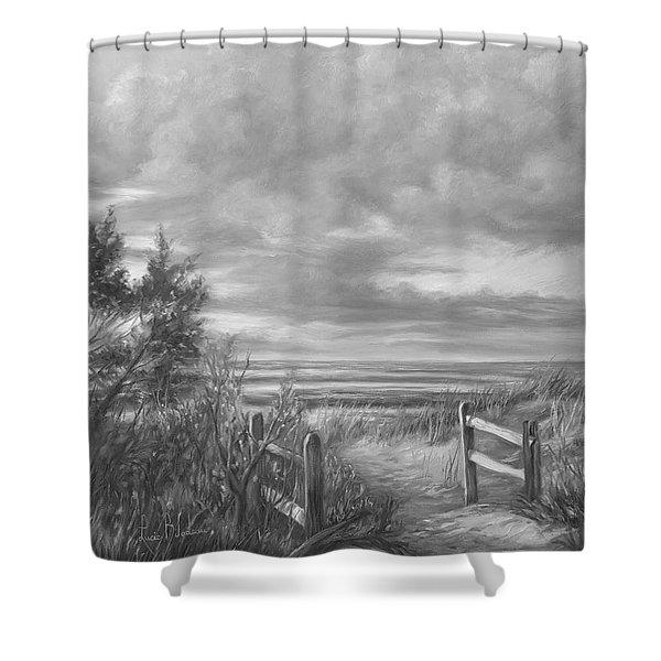 Beach Walk - Black And White Shower Curtain