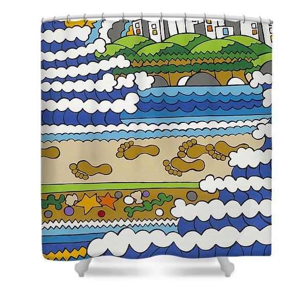 Beach Walk Foot Prints Shower Curtain