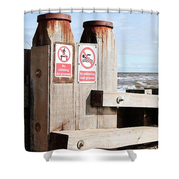 Beach Warning Shower Curtain