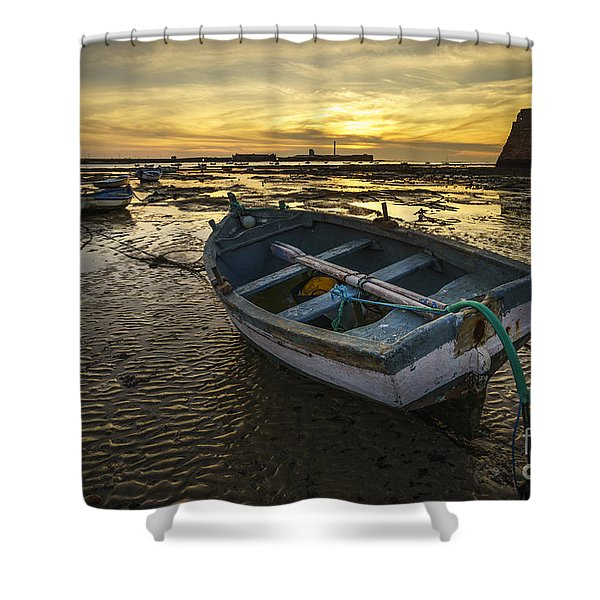 Beached Boat On La Caleta Cadiz Spain Shower Curtain