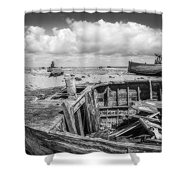 Beached Boats. Shower Curtain