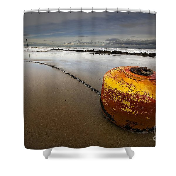 Beached Mooring Buoy Shower Curtain