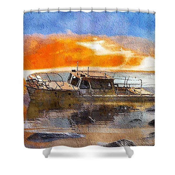 Shower Curtain featuring the painting Beached Wreck by Mark Taylor