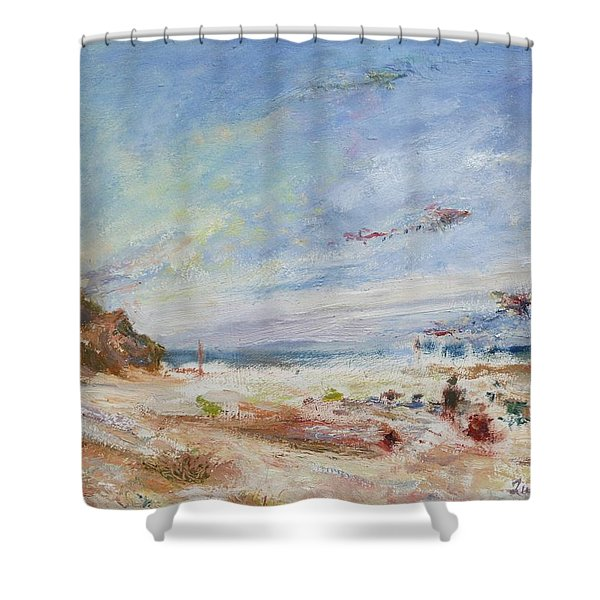 Beachy Day - Impressionist Painting - Original Contemporary Shower Curtain