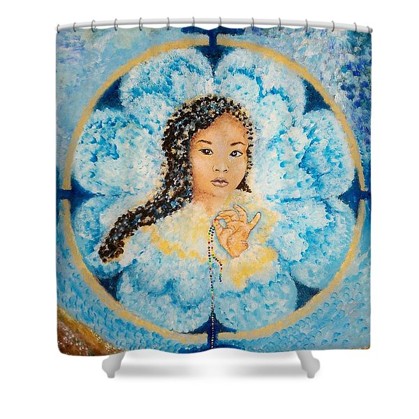 Flying Lamb Productions.        Beads Of Life Shower Curtain