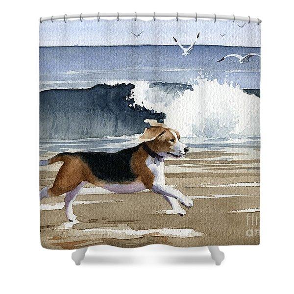 Beagle At The Beach Shower Curtain