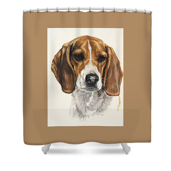 Shower Curtain featuring the painting Beagle In Watercolor by Barbara Keith