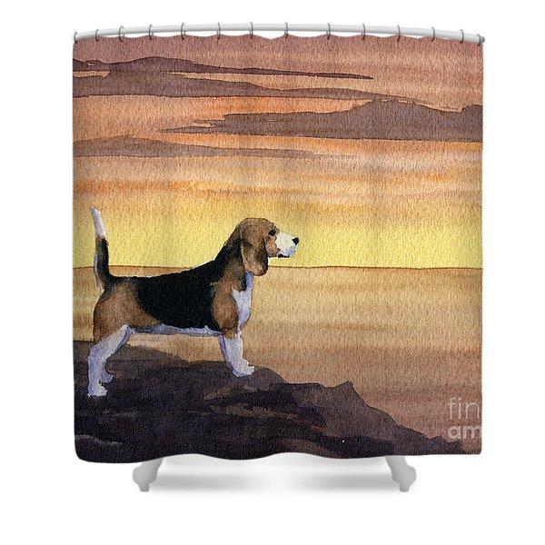 Beagle Sunset Shower Curtain