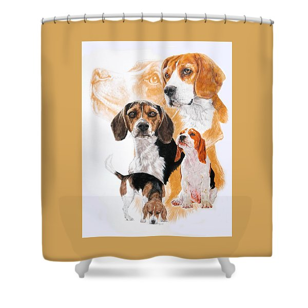 Shower Curtain featuring the mixed media Beagle Hound Medley by Barbara Keith