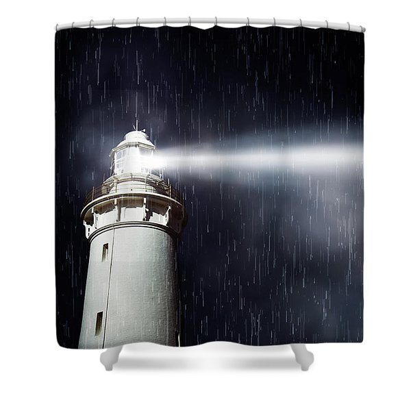 Beaming Lighthouse Shower Curtain