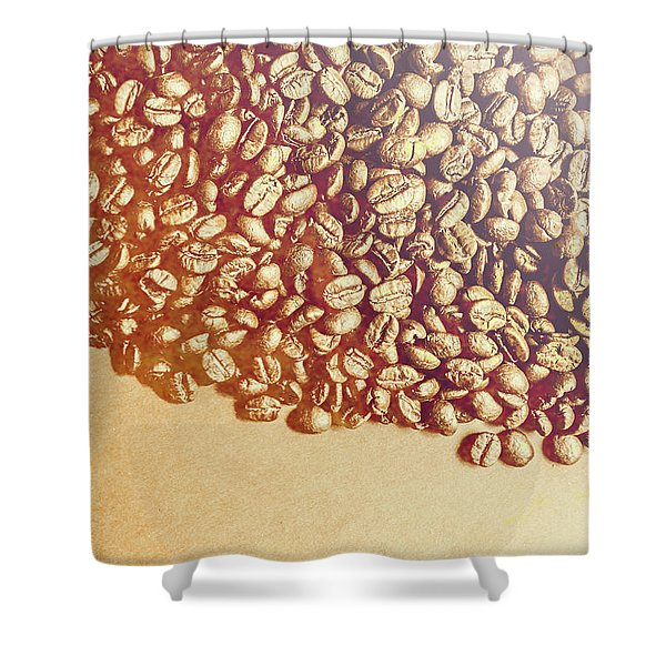 Bean Background With Coffee Space Shower Curtain