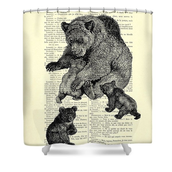 Bear And Cubs Black And White Antique Illustration Shower Curtain