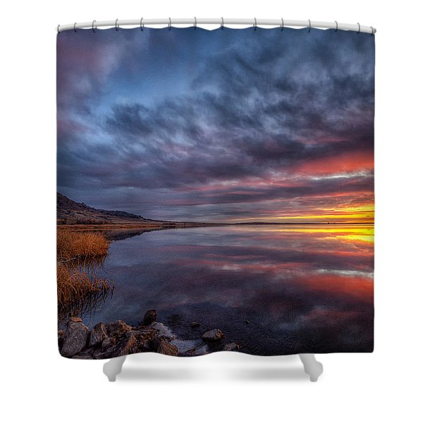 Bear Butte Lake Sunrise Shower Curtain