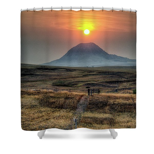 Bear Butte Smoke Shower Curtain