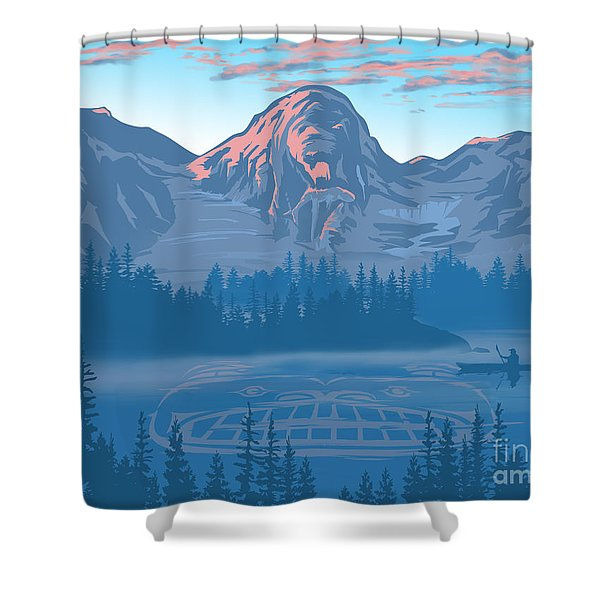 Shower Curtain featuring the painting Bear Country Scenic Landscape by Sassan Filsoof