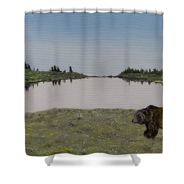 Shower Curtain featuring the painting Bear Reflecting by Kevin Daly