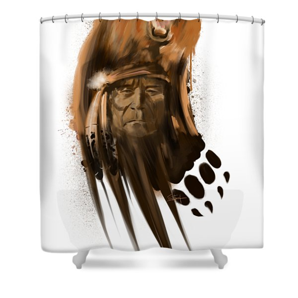 Shower Curtain featuring the painting Bear Spirit  by Sassan Filsoof