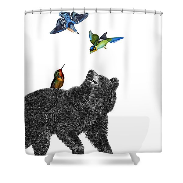 Bear With Birds Antique Illustration Shower Curtain