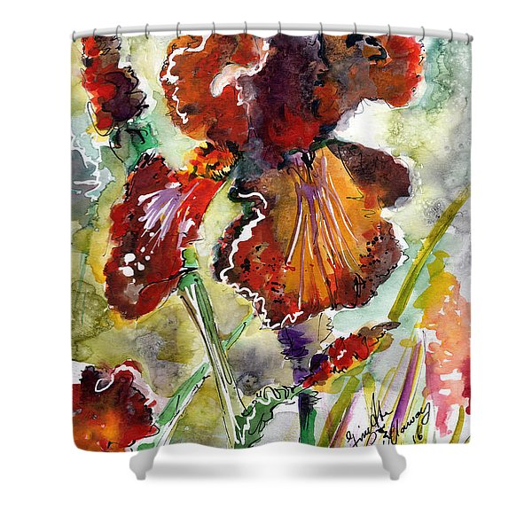 Bearded Iris Brown Sally Watercolor Shower Curtain