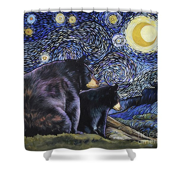 Beary Starry Nights Too Shower Curtain