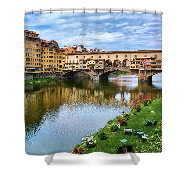 Ponte Vecchio On A Spring Day In Florence, Italy Shower Curtain