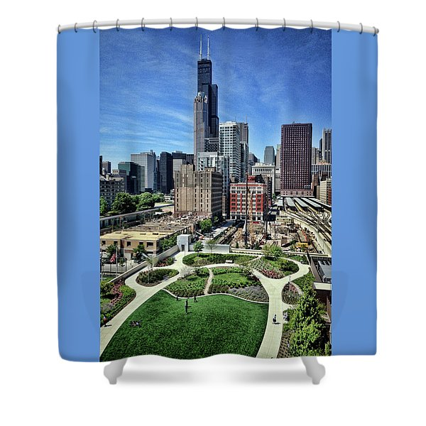 beautiful day and view of Chicago Shower Curtain
