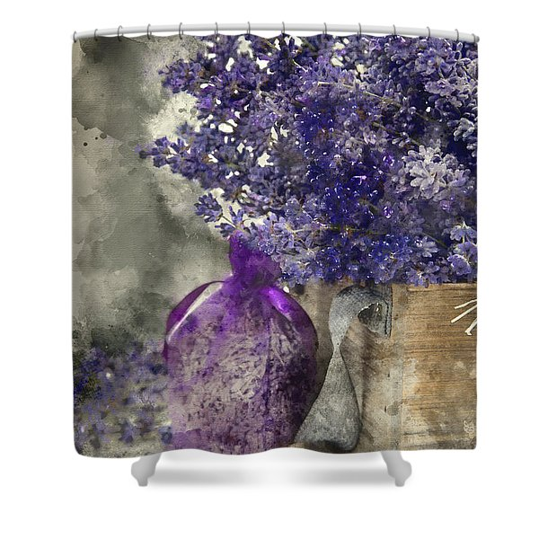 Beautiful Fragrant Lavender Bunch In Rustic Home Styled Setting  Shower Curtain