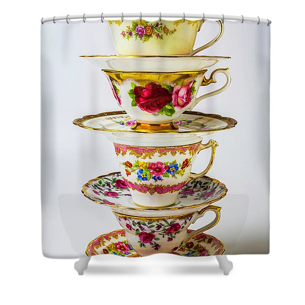 Beautiful Stacked Tea Cups Shower Curtain