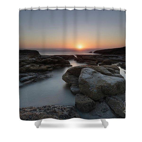Beautiful Sunset At Yachats, Oregon Shower Curtain