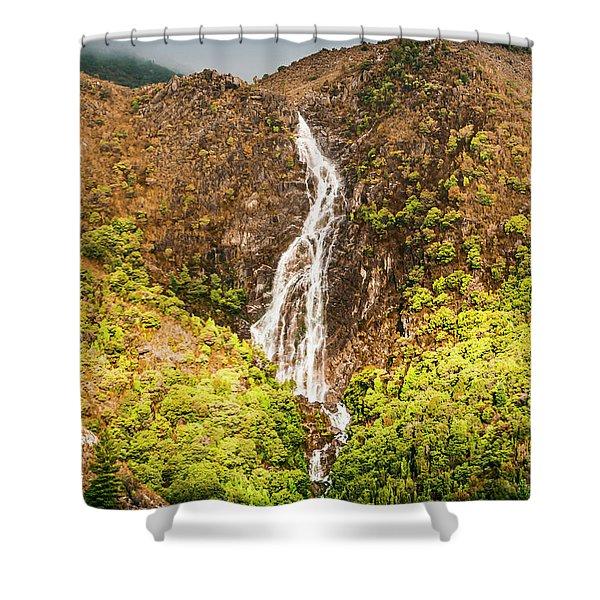 Beautiful Waterfall In Sunlight Shower Curtain