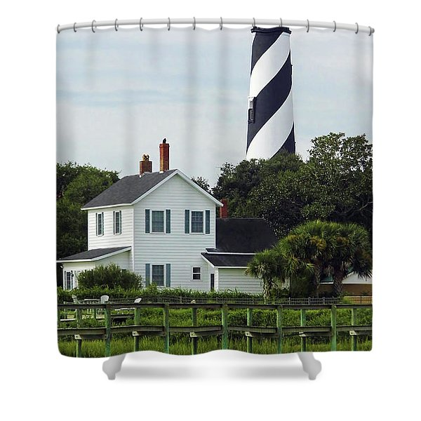 Beautiful Waterfront Lighthouse Shower Curtain