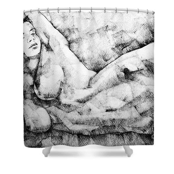 Beautiful Young Girl Pencil Art Drawing Shower Curtain