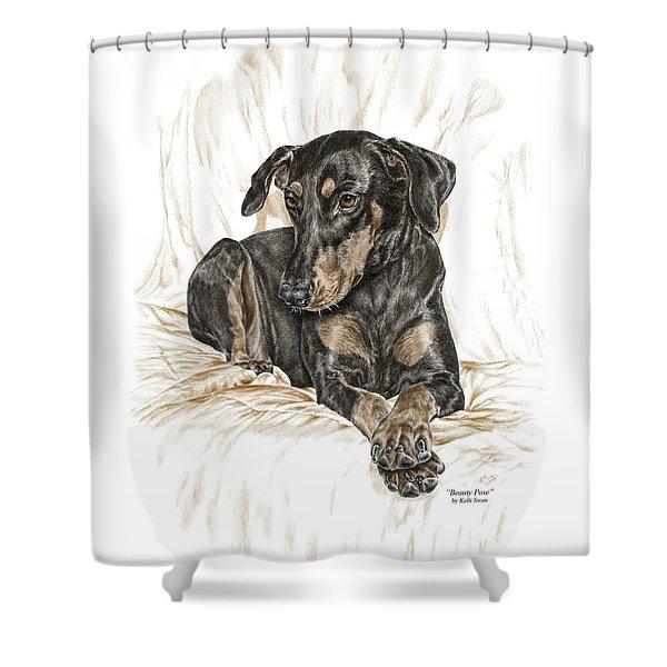 Beauty Pose - Doberman Pinscher Dog With Natural Ears Shower Curtain