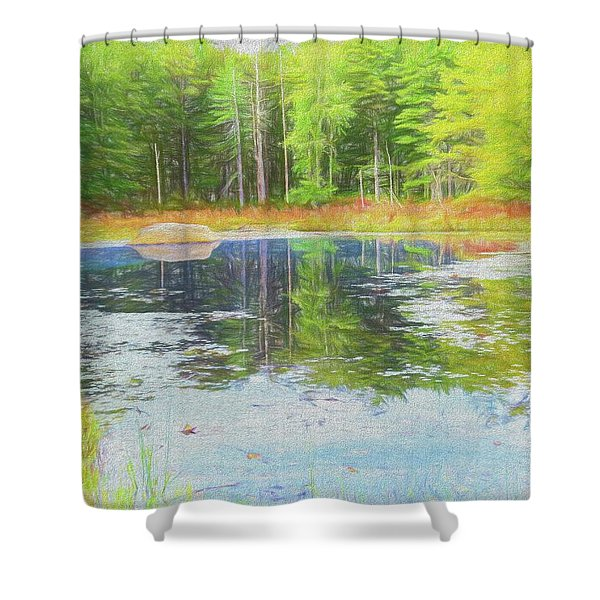Beaver Pond Reflections Shower Curtain