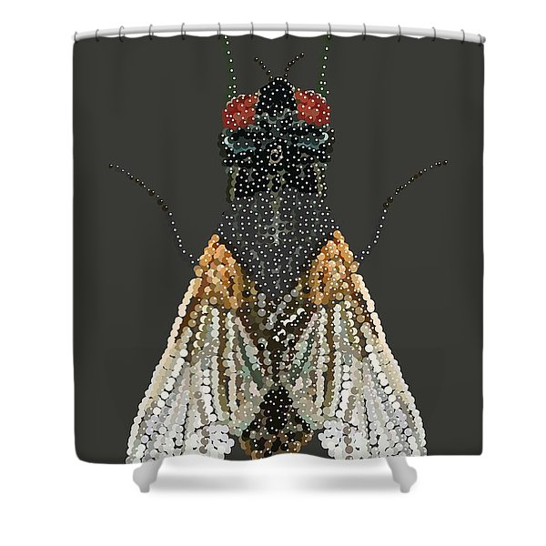Bedazzled Housefly Transparent Background Shower Curtain