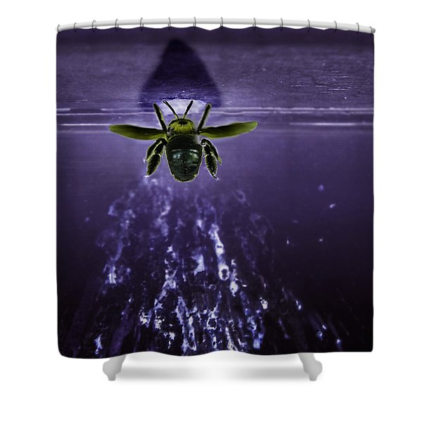 Bee Drilling Wood Shower Curtain