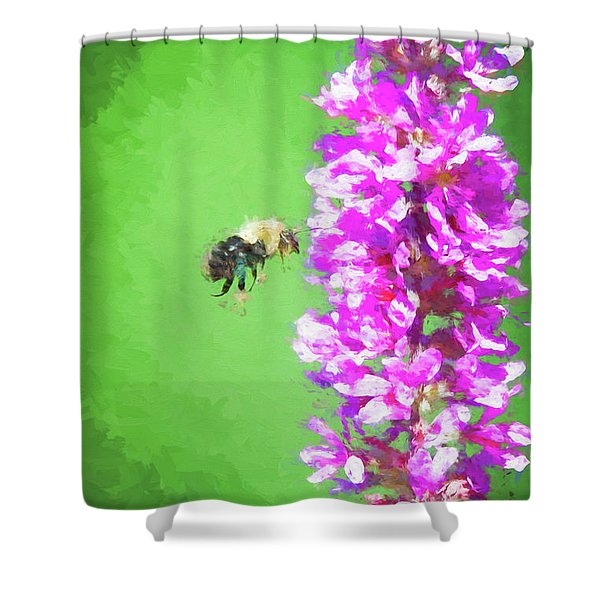 Bee Kissing A Flower Shower Curtain