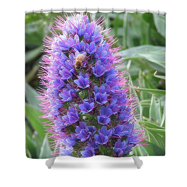 Bee On Blue Shower Curtain