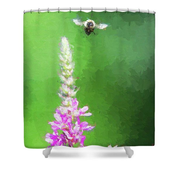 Bee Over Flowers Shower Curtain
