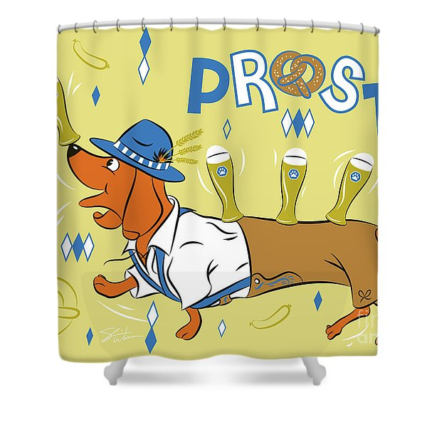 Beer Dachshund Dog Shower Curtain