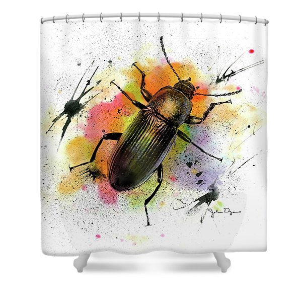 Beetle Illustration Shower Curtain