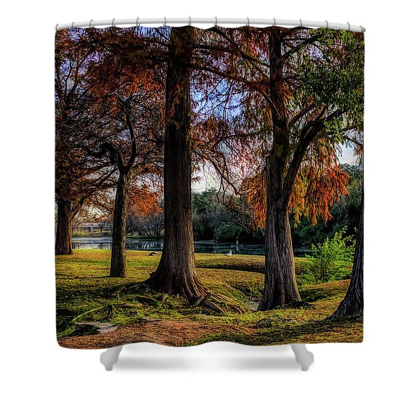Beginning Of Fall In Texas Shower Curtain