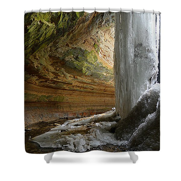 Behind The Ice Falls Shower Curtain