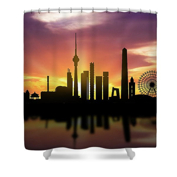 Beijing Skyline Sunset Chbj22 Shower Curtain