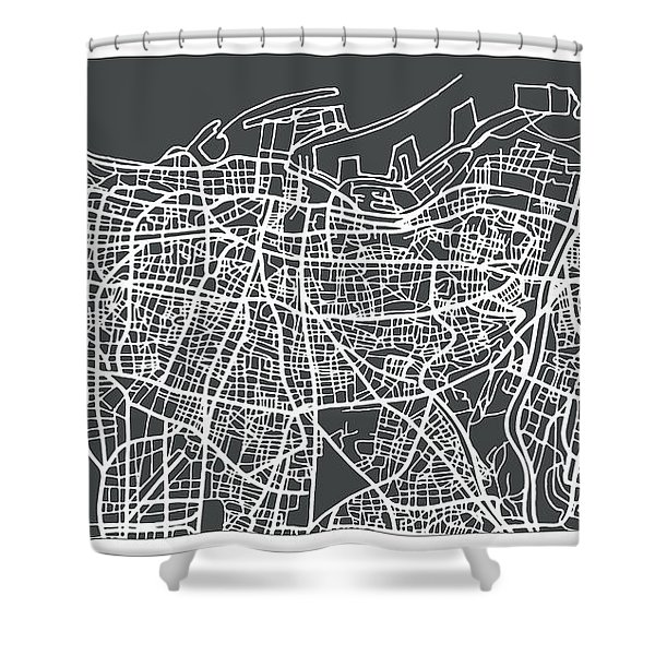 Beirut Lebanon City Map In Retro Style. Shower Curtain